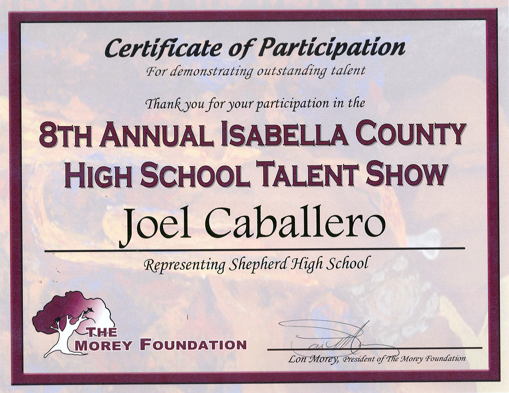 Proficiencies joel alexander caballero for Talent show certificate template